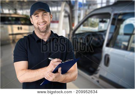 Cheerful handsome mechanic horizontal happy business person