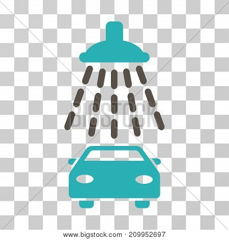 Car Shower vector pictogram. Illustration style is a flat iconic bicolor grey and cyan symbol on a transparent background.