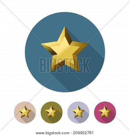 Golden star flat icon set. Vector illustration