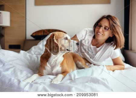 Woman and beagle dog wake up and meet new day in bed