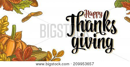 Template for greeting card and poster Thanksgiving day with pumpkin, corn, leaf maple, acorn, seed chestnut. Vector vintage color engraving illustration isolated on white background.