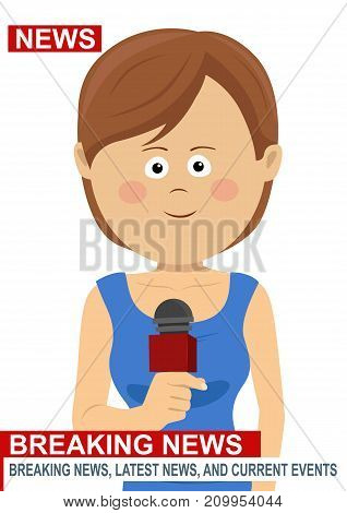 Female news reporter - woman journalist as a live correspondent with microphone on white