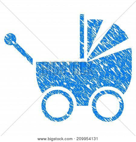 Grunge Baby Carriage icon with grunge design and dust texture. Unclean vector blue Baby Carriage pictogram for rubber seal stamp imitations and watermarks. Draft emblem symbol.