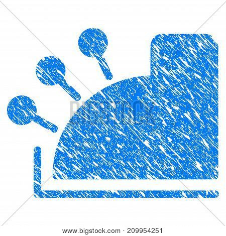 Grunge Cash Register icon with grunge design and dust texture. Unclean vector blue Cash Register pictogram for rubber seal stamp imitations and watermarks. Draft emblem symbol.