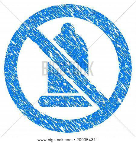 Grunge Condom Forbidden icon with grunge design and dust texture. Unclean vector blue Condom Forbidden pictogram for rubber seal stamp imitations and watermarks. Draft emblem symbol.