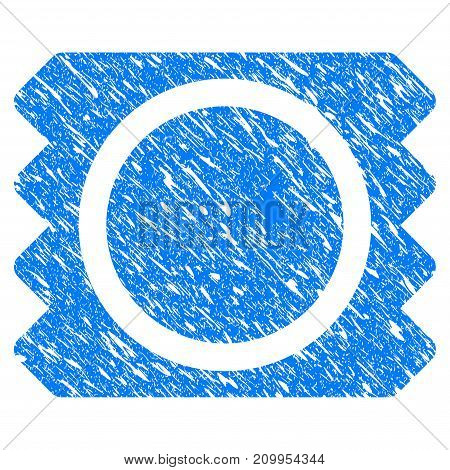 Grunge Condom Package icon with grunge design and scratched texture. Unclean vector blue Condom Package pictogram for rubber seal stamp imitations and watermarks. Draft sticker symbol.