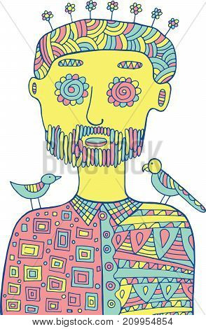 HIpster man with birds and flowers on his head. Colored coloring page for adults.