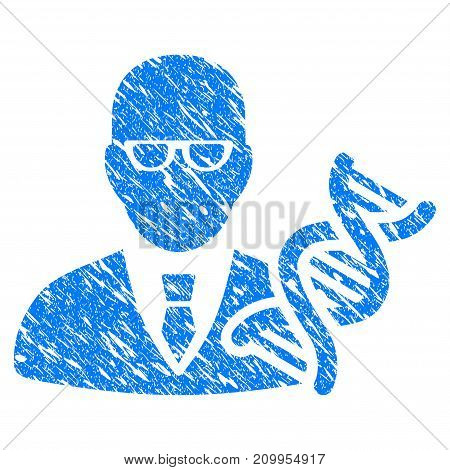 Grunge Geneticist icon with grunge design and dust texture. Unclean vector blue Geneticist pictogram for rubber seal stamp imitations and watermarks. Draft sign symbol.