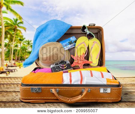 Objects travel retro case suitcase flip flops leisure