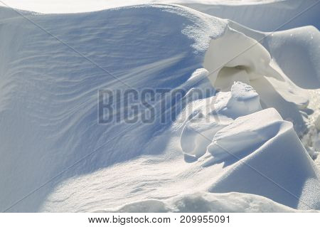 Fantastic snowdrift on a winter sunny day