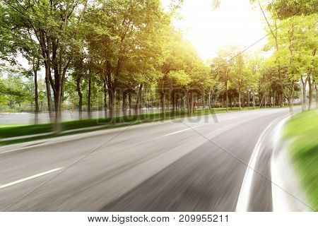 blurry empty asphalt road with green trees with sunbeam