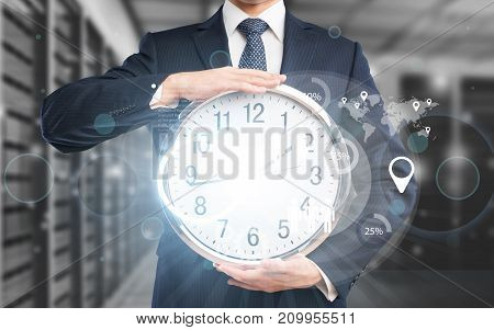Business holding man hands clock businessman person