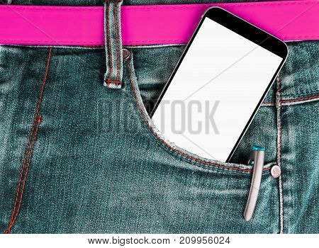 Smartphone with isolated white screen with empty space for text in a denim jeans pocket