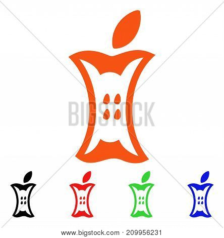 Apple Stump icon. Vector illustration style is a flat iconic apple stump symbol with black, orange, red, green, blue color versions. Designed for web apps and software interfaces.