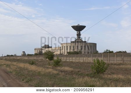 Vitino, Saksky district, Republic of Crimea, Russia - July 20, 2017: Radio telescope of the center of distant space communication near the village of Vitino in the Saki district