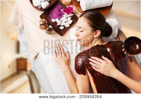 Woman relaxing massage body care hand massage spa woman woman spa