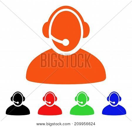 Call Center Operator icon. Vector illustration style is a flat iconic call center operator symbol with black, orange, red, green, blue color variants. Designed for web apps and software interfaces.