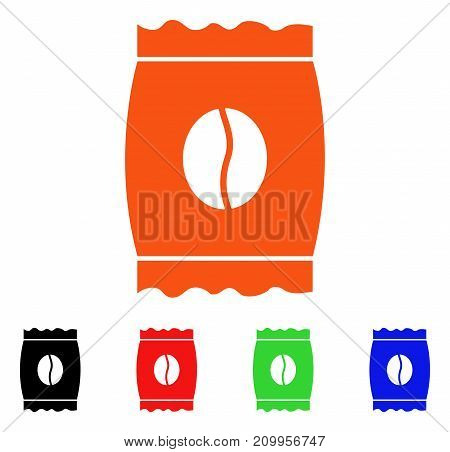 Coffee Bean Pack icon. Vector illustration style is a flat iconic coffee bean pack symbol with black, orange, red, green, blue color variants. Designed for web apps and software interfaces.
