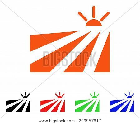 Field Sunset icon. Vector illustration style is a flat iconic field sunset symbol with black, orange, red, green, blue color versions. Designed for web apps and software interfaces.