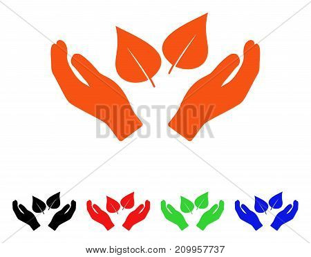 Flora Care Hands icon. Vector illustration style is a flat iconic flora care hands symbol with black, orange, red, green, blue color variants. Designed for web apps and software interfaces.