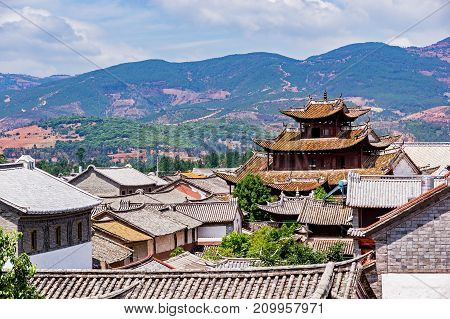 Top view of Chinese Traditional Tiled roofs in Dali - Yunnan, China