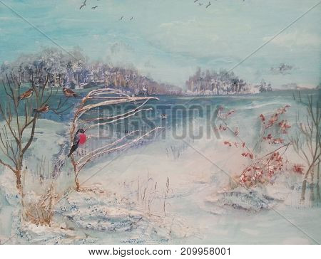 Oil painting winter trees river and birds.Landscape