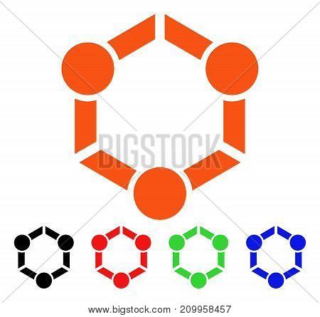 Human Union icon. Vector illustration style is a flat iconic human union symbol with black, orange, red, green, blue color versions. Designed for web apps and software interfaces.