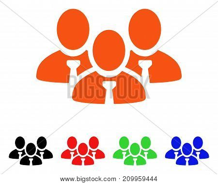 Manager Group icon. Vector illustration style is a flat iconic manager group symbol with black, orange, red, green, blue color versions. Designed for web apps and software interfaces.