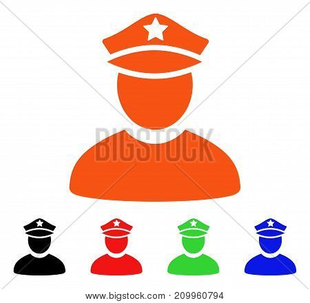 Policeman icon. Vector illustration style is a flat iconic policeman symbol with black, orange, red, green, blue color variants. Designed for web apps and software interfaces.