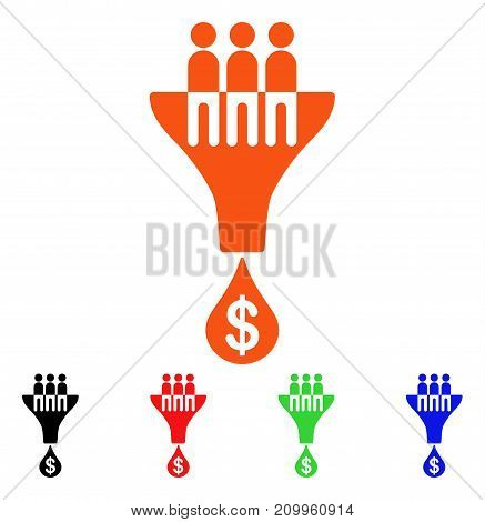Sales Filter icon. Vector illustration style is a flat iconic sales filter symbol with black, orange, red, green, blue color variants. Designed for web apps and software interfaces.