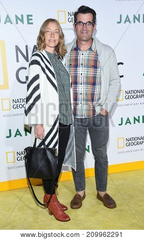 LOS ANGELES - OCT 09:  Ty Burrell and Holly Burrell arrives for the 'Jane' Los Angeles Premiere on October  9, 2017 in Hollywood, CA