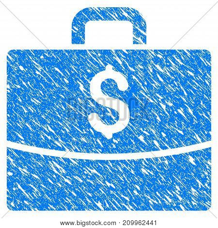 Grunge Business Case icon with scratched design and unclean texture. Unclean vector blue Business Case pictogram for rubber seal stamp imitations and watermarks. Draft emblem symbol.