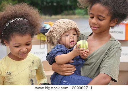 Poor African children outdoors