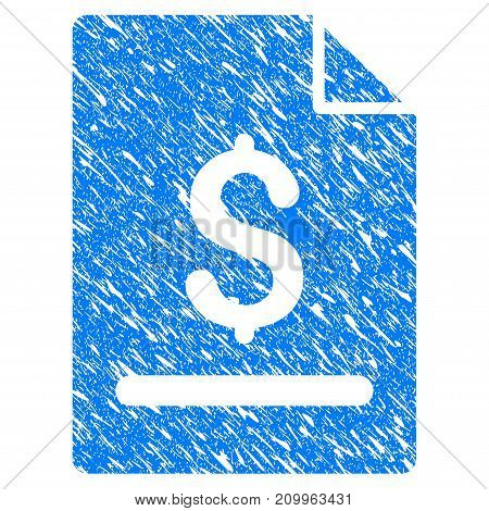 Grunge Invoice Page icon with scratched design and unclean texture. Unclean vector blue Invoice Page pictogram for rubber seal stamp imitations and watermarks. Draft sign symbol.