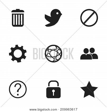 Set Of 9 Editable Web Icons. Includes Symbols Such As Security, Recycle Bin, Group And More