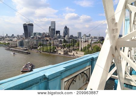 LONDON, GREAT BRITAIN - MAY 16, 2014: It is an aerial view of the London City and Tower from the height of the Tower Bridge.