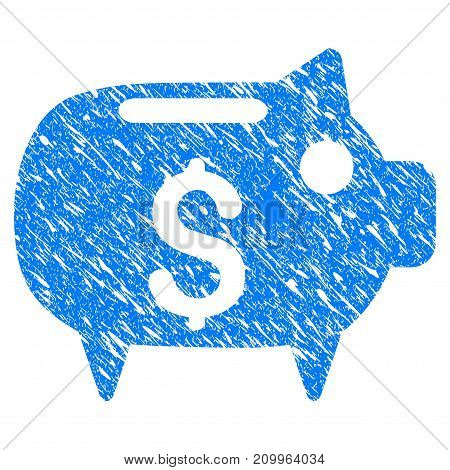 Grunge Piggy Bank icon with scratched design and unclean texture. Unclean vector blue Piggy Bank pictogram for rubber seal stamp imitations and watermarks. Draft emblem symbol.