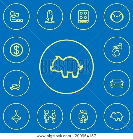 Set Of 12 Editable Family Outline Icons. Includes Symbols Such As Gyroscope, Money Box, Bunny And More