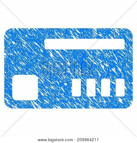 Grunge Ticket icon with scratched design and unclean texture. Unclean vector blue Ticket pictogram for rubber seal stamp imitations and watermarks. Draft emblem symbol.