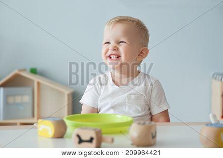 Cute Jewish boy at home
