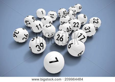 Lottery balls against grey background