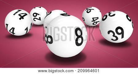Close-up on lottery balls against red and white background