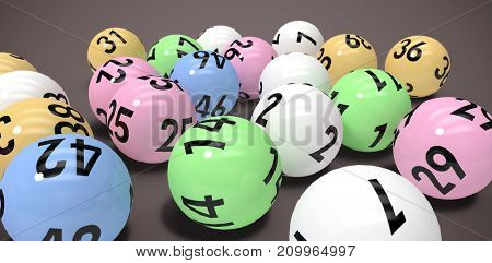 Close-up on colourful lottery balls against brown background
