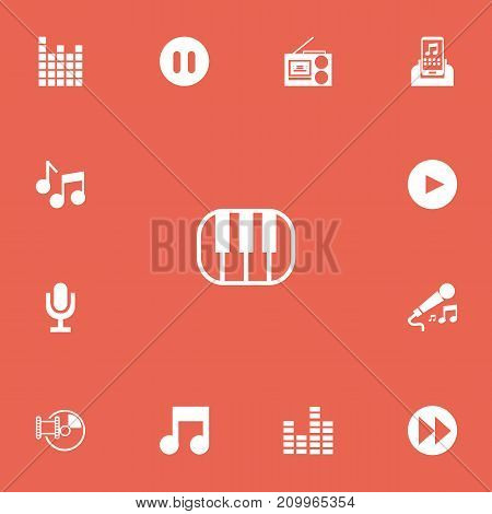 Set Of 13 Editable Song Icons. Includes Symbols Such As Play Button, Bar Wave, Media Device And More