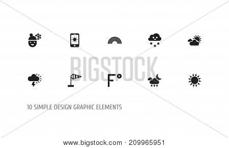 Set Of 10 Editable Air Icons. Includes Symbols Such As Sun In Display, Twilight, Sunlight And More