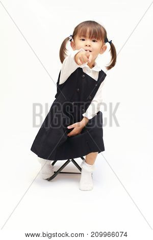 Japanese Girl On The Chair Pointing At The Camera In Formal Wear (2 Years Old)