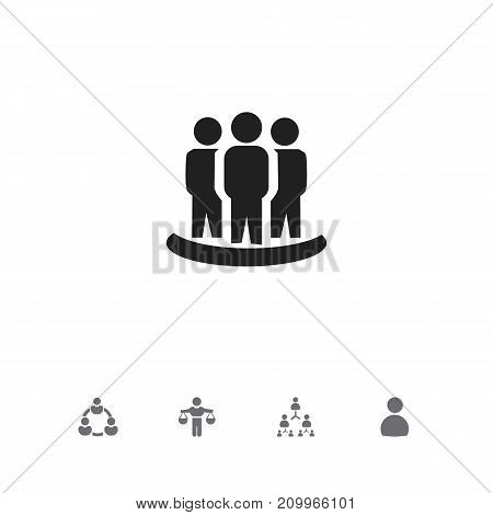 Set Of 5 Editable Team Icons. Includes Symbols Such As Male, Hierarchy, Partnership And More