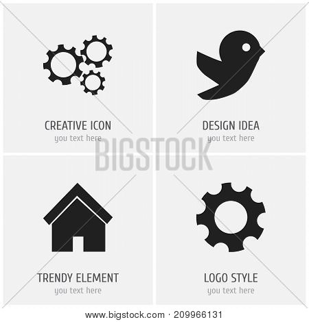 Set Of 4 Editable Network Icons. Includes Symbols Such As Settings, Dove, Home And More