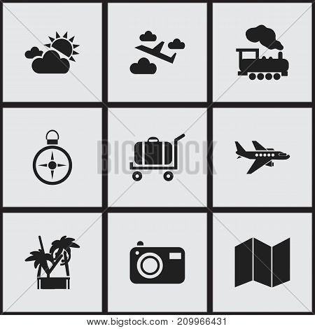Set Of 9 Editable Travel Icons. Includes Symbols Such As Orientation, Cart, Cloudy Day And More
