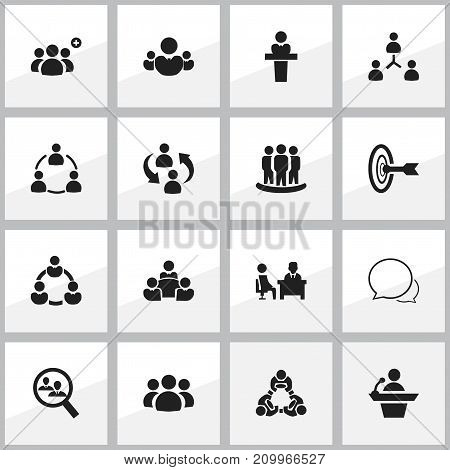 Set Of 16 Editable Team Icons. Includes Symbols Such As Goal, Speaker, Human Resouces And More